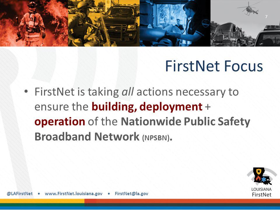 @LAFirstNet www.FirstNet.louisiana.gov FirstNet@la.gov NPSBN The planned 4G LTE mobile data network for the Nations first responder community.