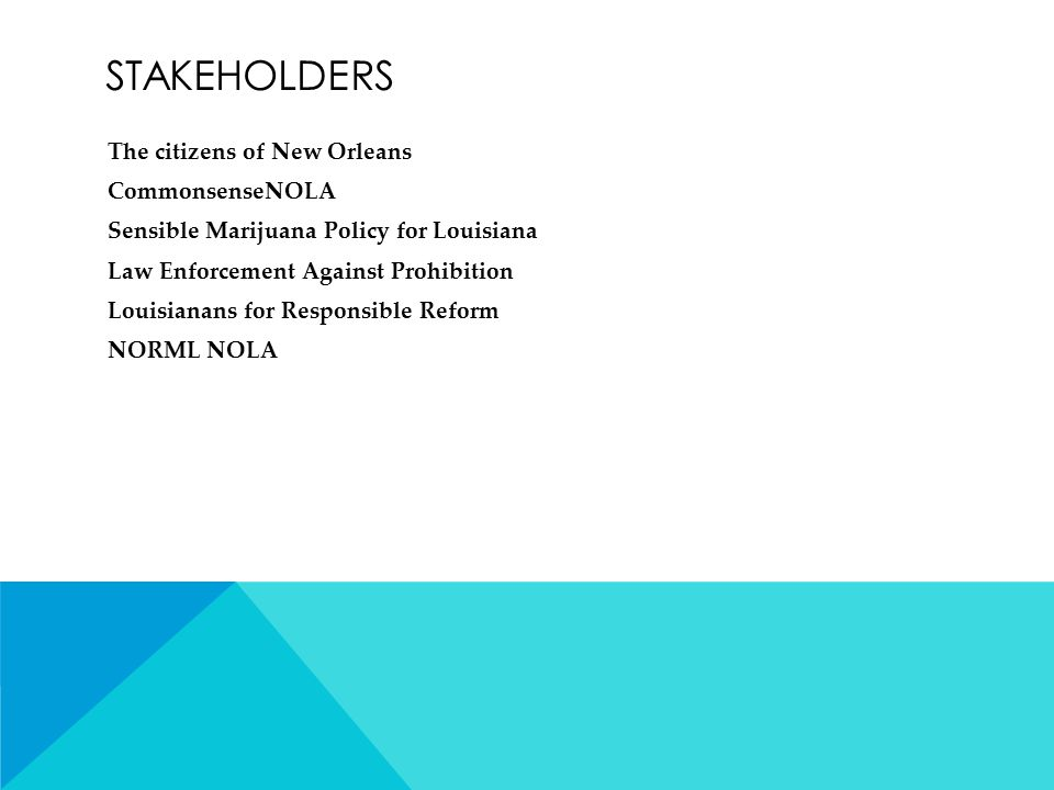 STAKEHOLDERS The citizens of New Orleans CommonsenseNOLA Sensible Marijuana Policy for Louisiana Law Enforcement Against Prohibition Louisianans for Responsible Reform NORML NOLA