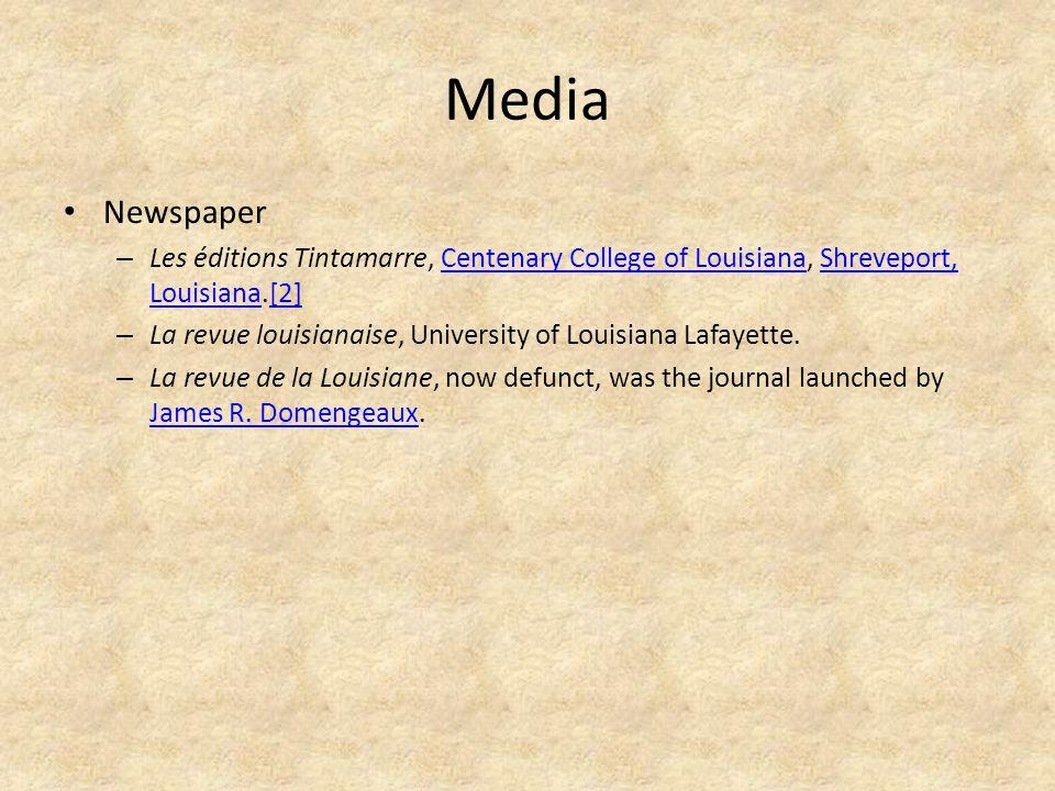 Media Newspaper – Les éditions Tintamarre, Centenary College of Louisiana, Shreveport, Louisiana.[2]Centenary College of LouisianaShreveport, Louisiana[2] – La revue louisianaise, University of Louisiana Lafayette.