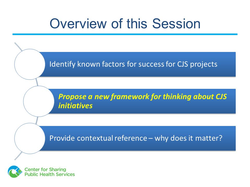 Overview of this Session Identify known factors for success for CJS projects Propose a new framework for thinking about CJS initiatives Provide contextual reference – why does it matter