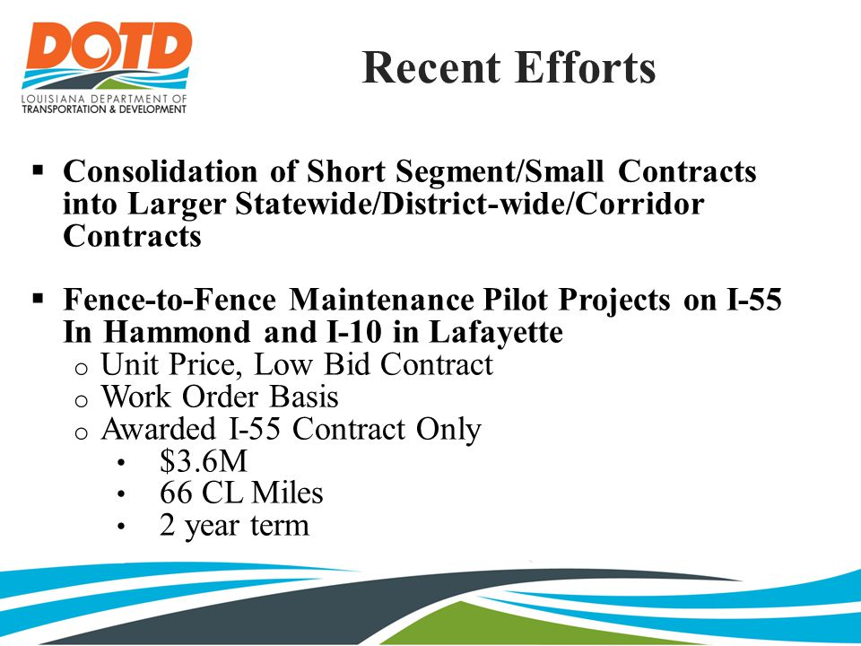 Recent Efforts  Consolidation of Short Segment/Small Contracts into Larger Statewide/District-wide/Corridor Contracts  Fence-to-Fence Maintenance Pilot Projects on I-55 In Hammond and I-10 in Lafayette o Unit Price, Low Bid Contract o Work Order Basis o Awarded I-55 Contract Only $3.6M 66 CL Miles 2 year term