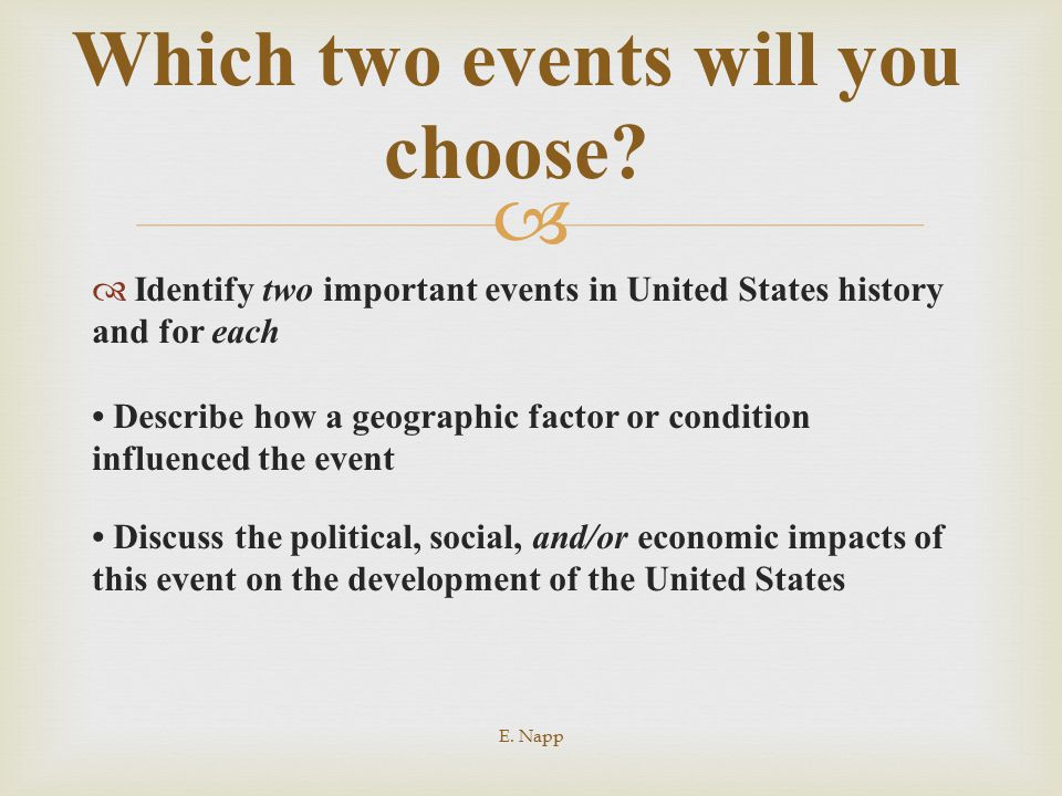   Identify two important events in United States history and for each Describe how a geographic factor or condition influenced the event Discuss the