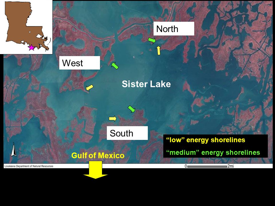 "West South North Sister Lake Gulf of Mexico ""low"" energy shorelines ""medium"" energy shorelines"