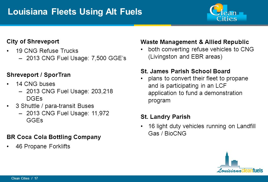 Clean Cities / 17 City of Shreveport 19 CNG Refuse Trucks –2013 CNG Fuel Usage: 7,500 GGE's Shreveport / SporTran 14 CNG buses –2013 CNG Fuel Usage: 2