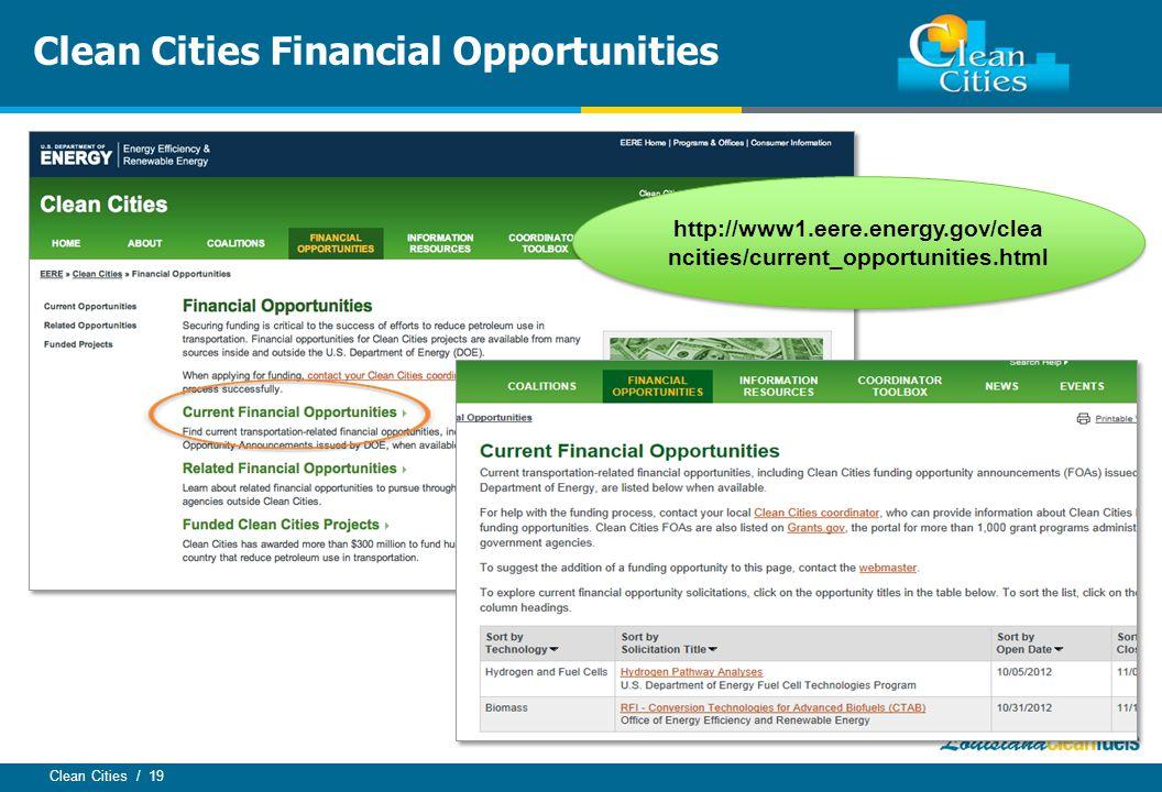 Clean Cities / 19 Clean Cities Financial Opportunities http://www1.eere.energy.gov/clea ncities/current_opportunities.html