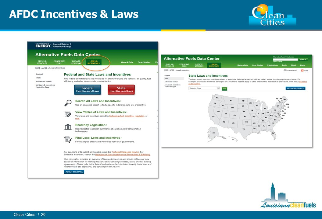 Clean Cities / 20 AFDC Incentives & Laws