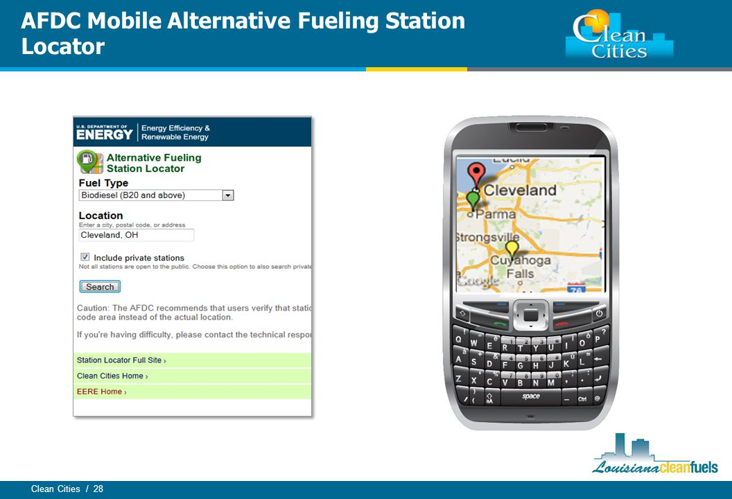 Clean Cities / 28 AFDC Mobile Alternative Fueling Station Locator
