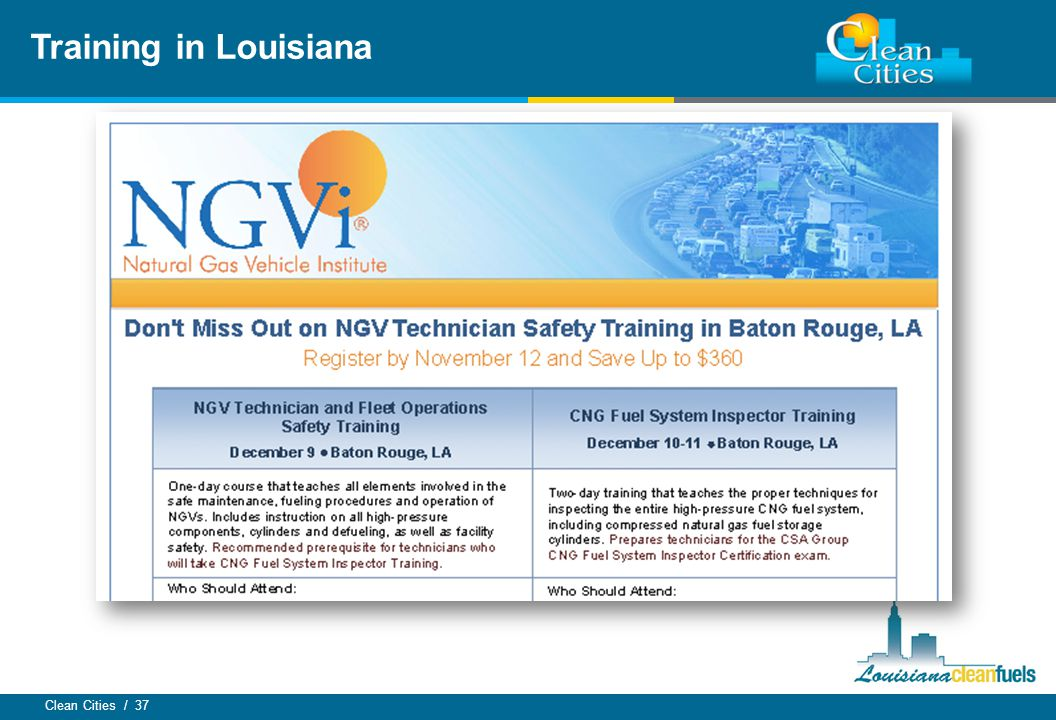 Clean Cities / 37 Training in Louisiana