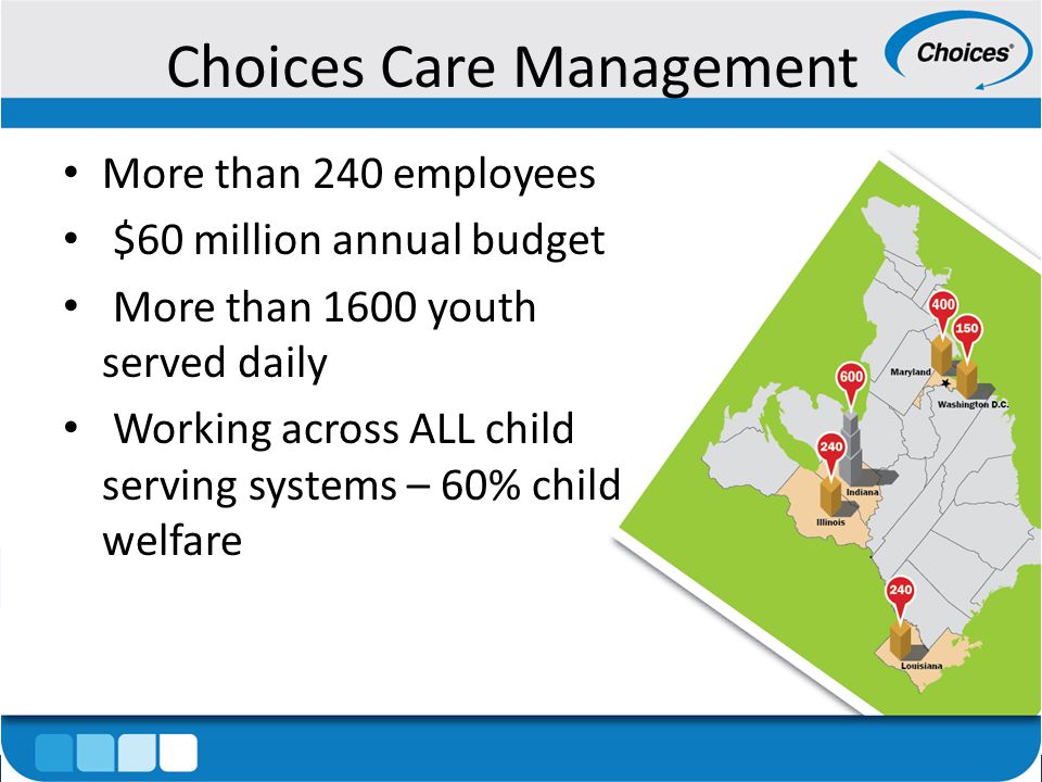 Choices Care Management More than 240 employees $60 million annual budget More than 1600 youth served daily Working across ALL child serving systems – 60% child welfare