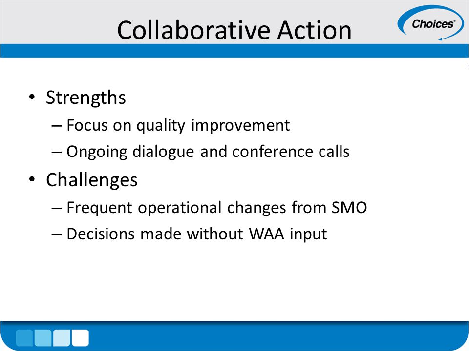 Collaborative Action Strengths – Focus on quality improvement – Ongoing dialogue and conference calls Challenges – Frequent operational changes from SMO – Decisions made without WAA input
