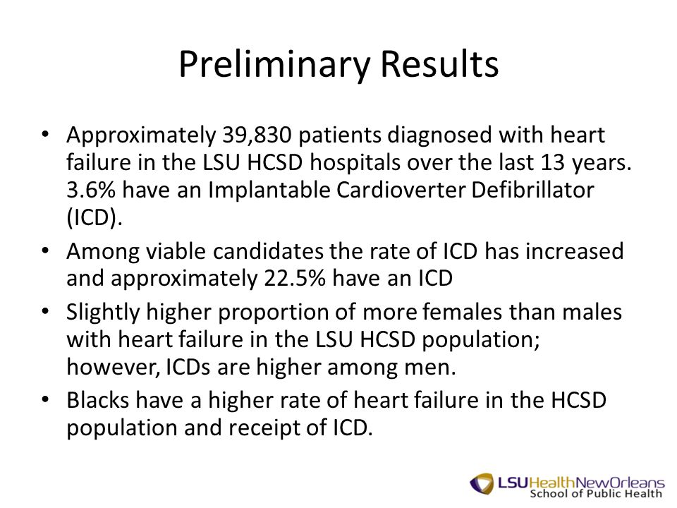 Preliminary Results Approximately 39,830 patients diagnosed with heart failure in the LSU HCSD hospitals over the last 13 years.