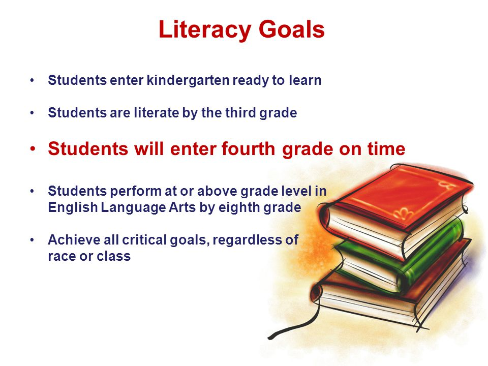 Literacy Goals Students enter kindergarten ready to learn Students are literate by the third grade Students will enter fourth grade on time Students perform at or above grade level in English Language Arts by eighth grade Achieve all critical goals, regardless of race or class