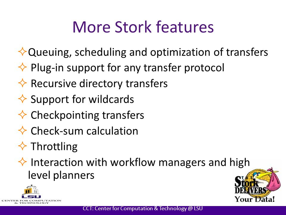 AT LOUISIANA STATE UNIVERSITY CCT: Center for Computation & Technology @ LSU Features of Stork 1.2  Current release Stork Version 1.2  Almost available in 17 different platforms  Source code and binary forms of release  Two types of release  Core Stork modules  Stork with all external modules