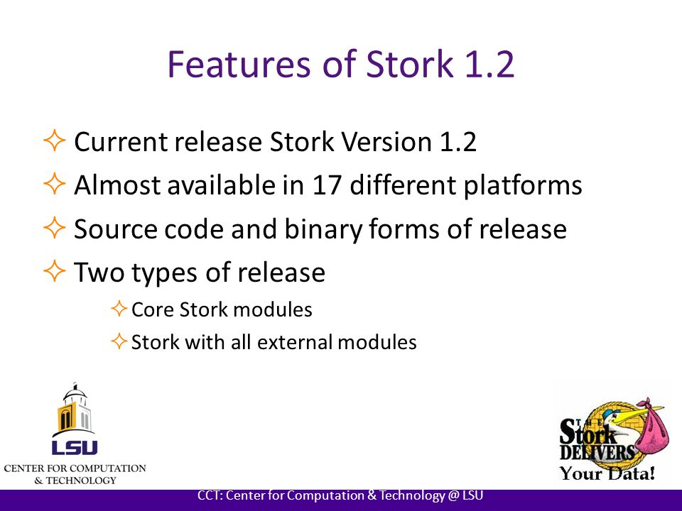 AT LOUISIANA STATE UNIVERSITY CCT: Center for Computation & Technology @ LSU Features of Stork 1.2  First Stand alone version of Stork  Easy installation steps than previous versions  Support team to answer all your questions and to provide required help on Stork  Flexibility for users to customize stork and implement new features  Test suites to test the functionality of Stork  Newly updated user friendly Stork user manual