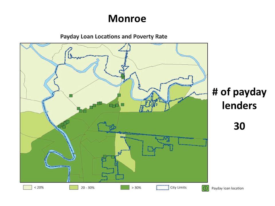 Monroe # of payday lenders 30