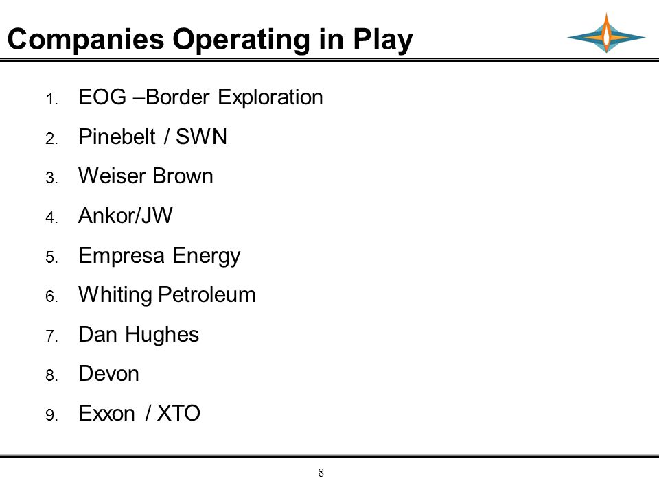 Empresa Energy, L.P. 8 Companies Operating in Play 1.