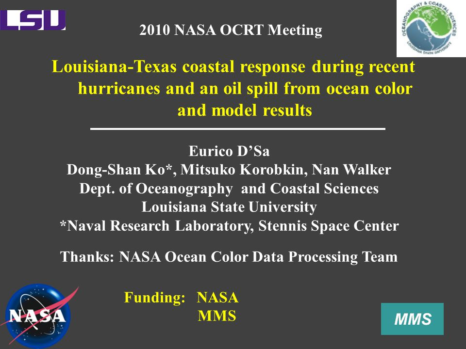 Louisiana-Texas coastal response during recent hurricanes and an oil spill from ocean color and model results Eurico D'Sa Dong-Shan Ko*, Mitsuko Korobkin, Nan Walker Dept.