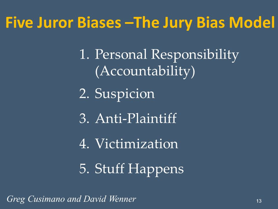 13 1.Personal Responsibility (Accountability) 2.Suspicion 3.Anti-Plaintiff 4.Victimization 5.Stuff Happens Five Juror Biases –The Jury Bias Model Greg Cusimano and David Wenner