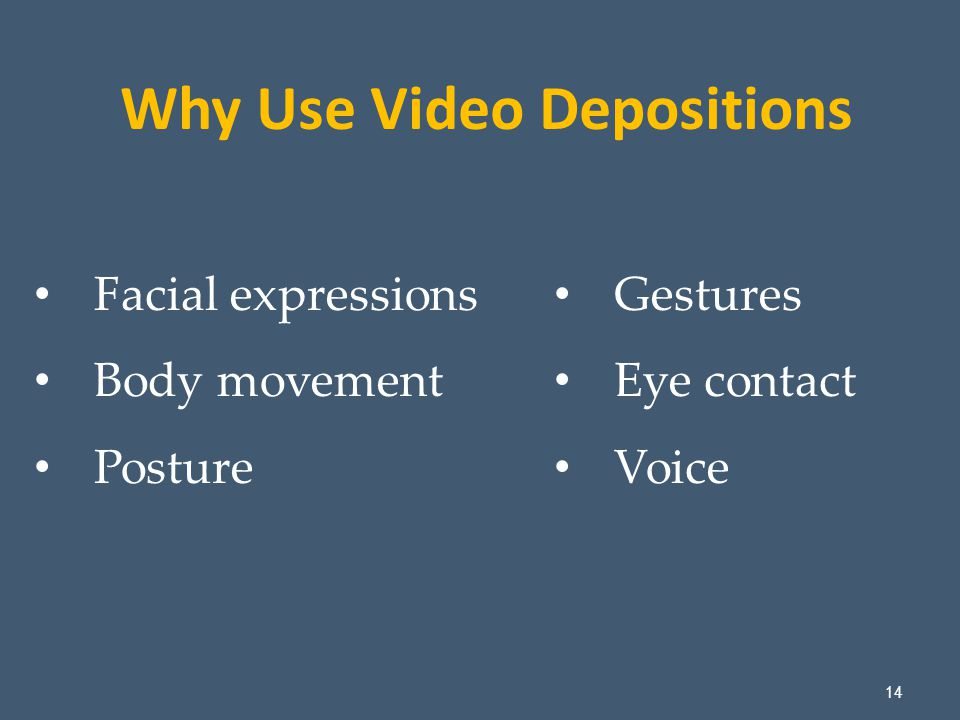 14 Facial expressions Body movement Posture Why Use Video Depositions Gestures Eye contact Voice