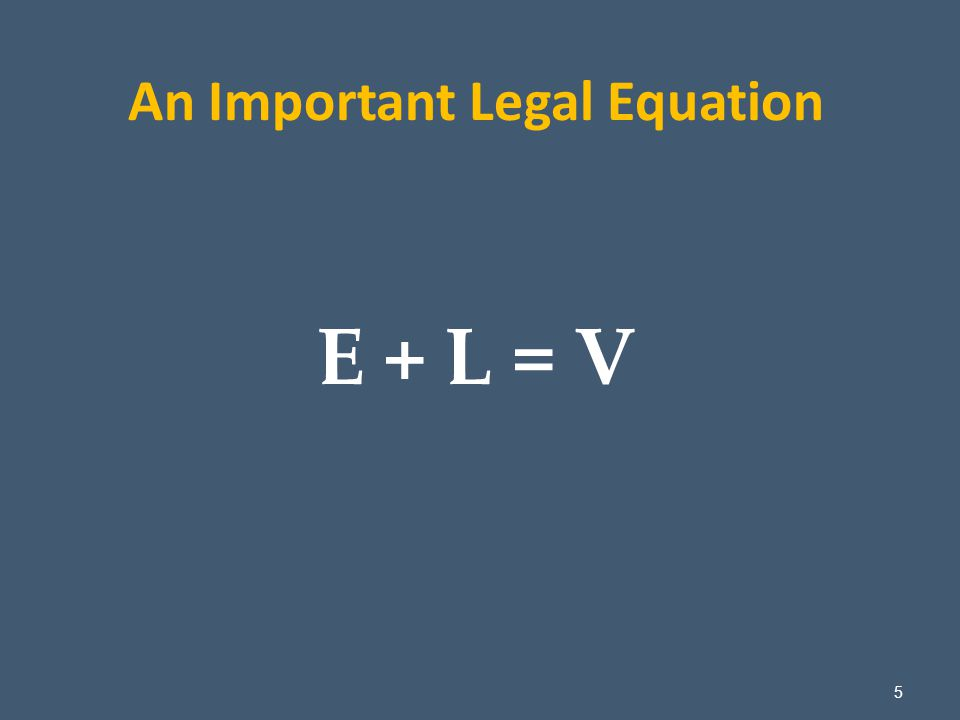 5 An Important Legal Equation E + L = V