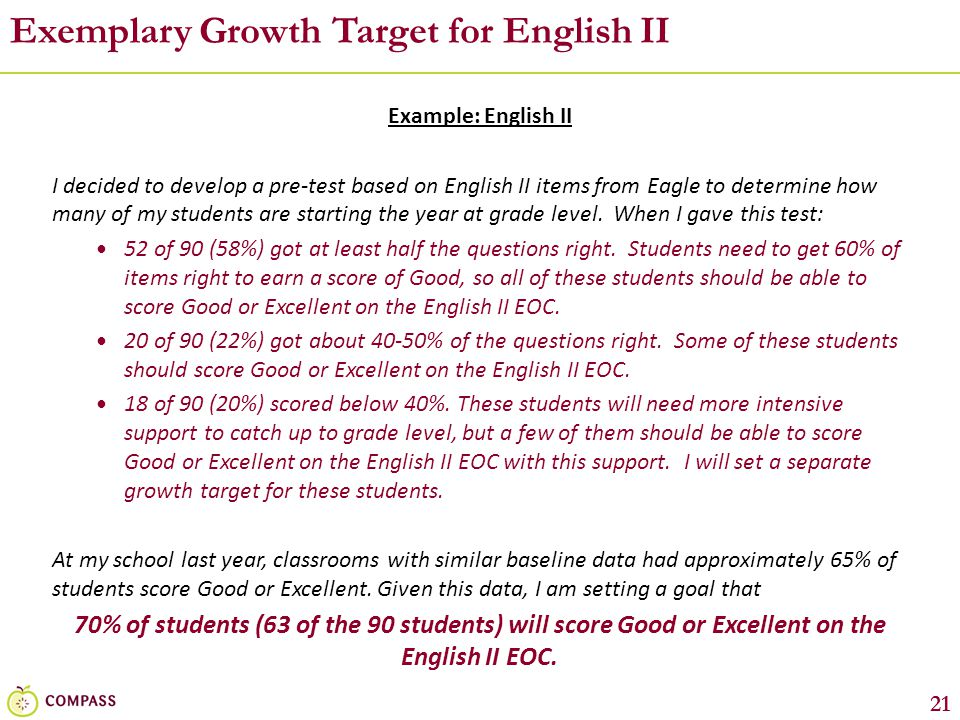 21 Exemplary Growth Target for English II Example: English II I decided to develop a pre-test based on English II items from Eagle to determine how ma