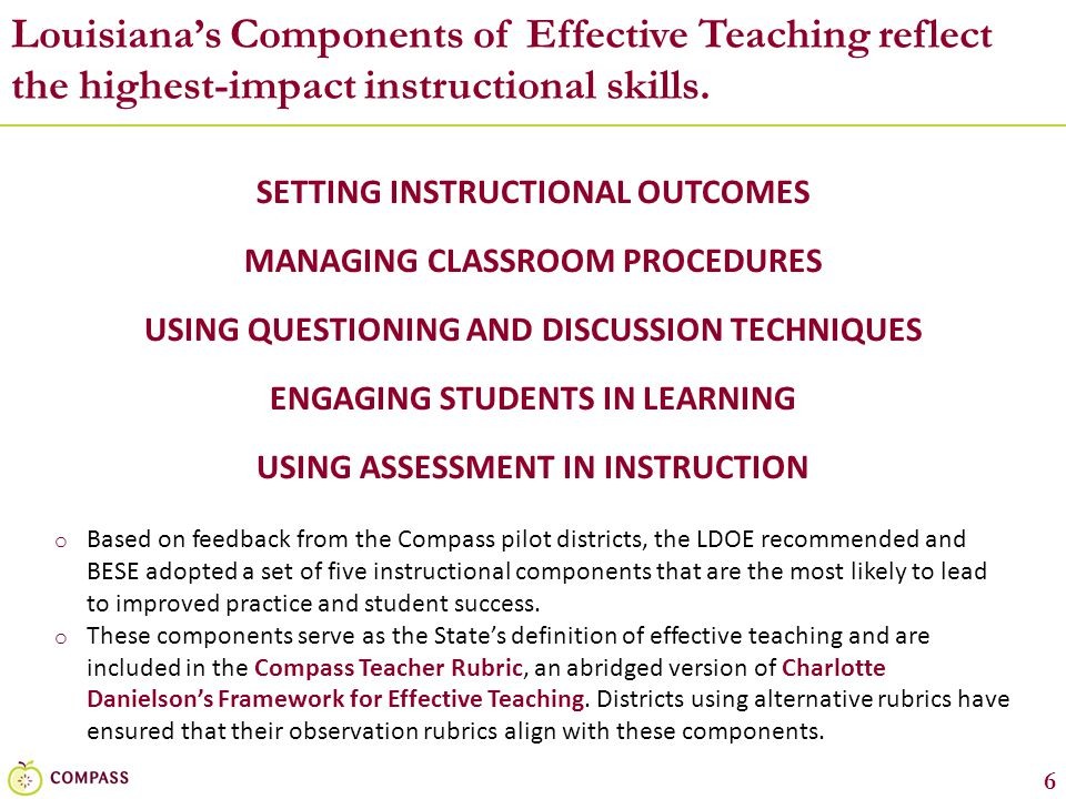 7 Each component in the Compass Teacher Rubric is described generally via elements and indicators…