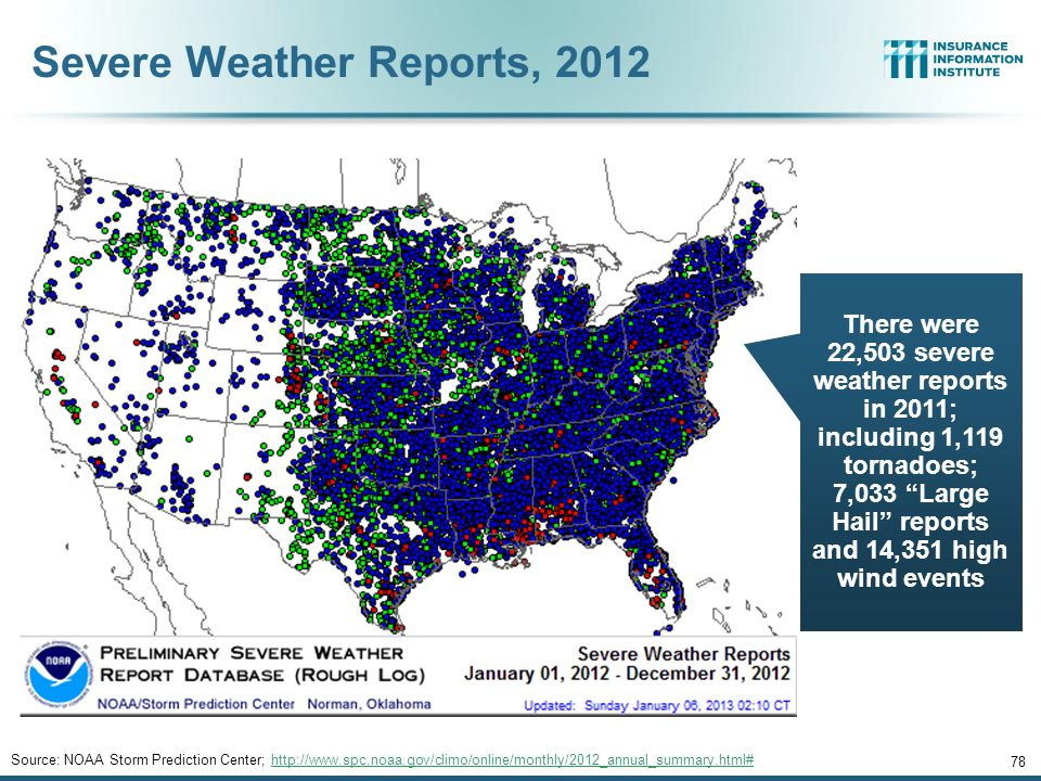 77 SEVERE WEATHER REPORT UPDATE: 2013 Damage from Tornadoes, Large Hail and High Winds Keep Insurers Busy 12/01/09 - 9pm 77