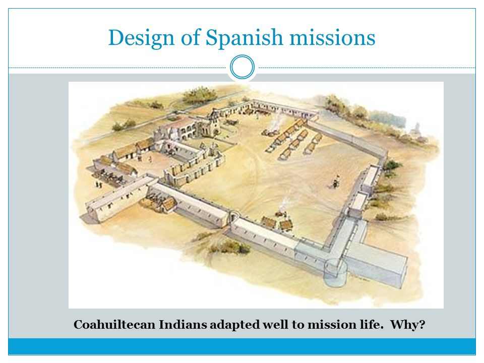 Design of Spanish missions Coahuiltecan Indians adapted well to mission life. Why