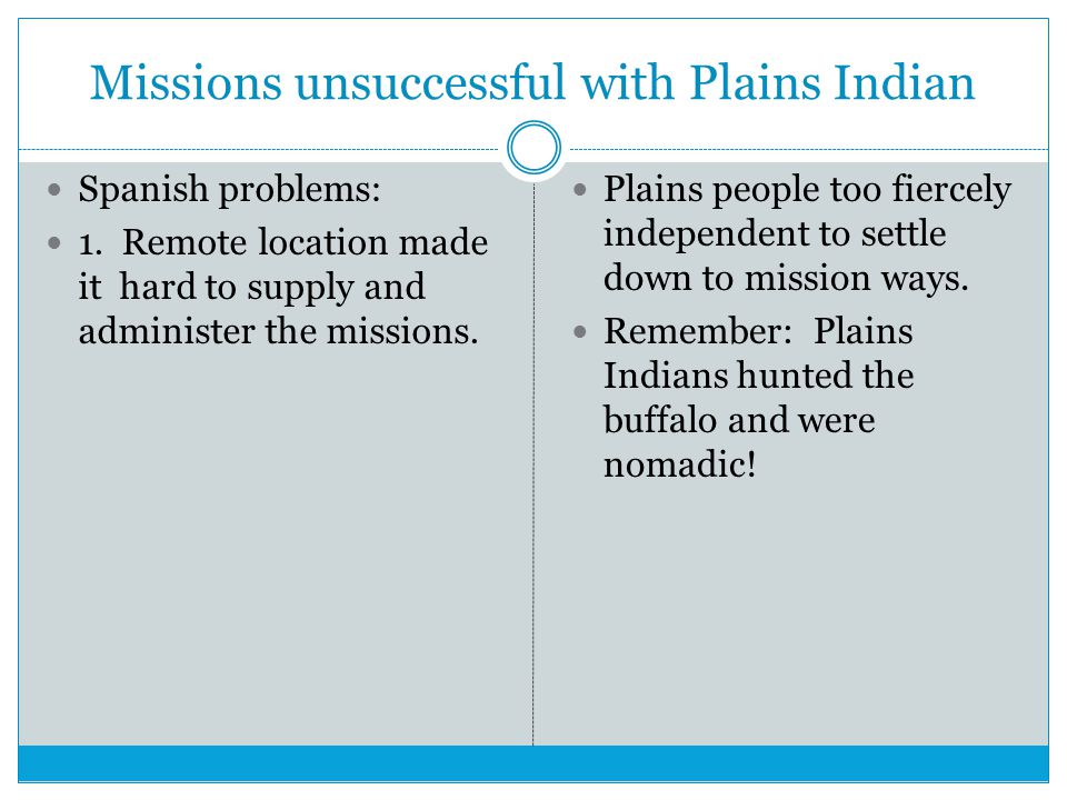 Missions unsuccessful with Plains Indian Spanish problems: 1.