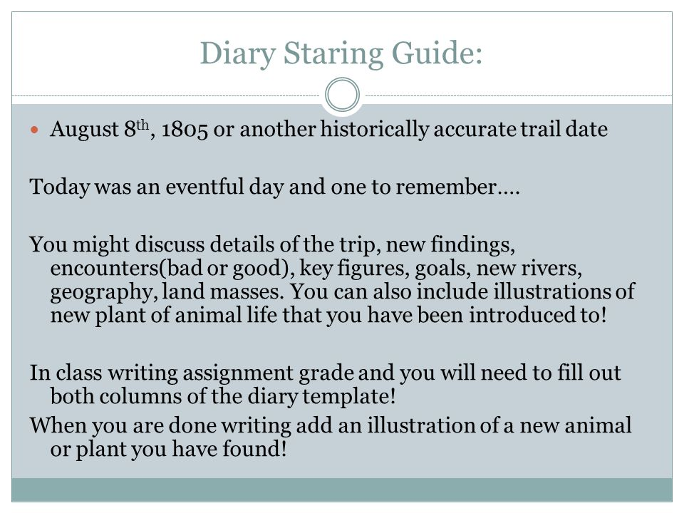 Diary Staring Guide: August 8 th, 1805 or another historically accurate trail date Today was an eventful day and one to remember….