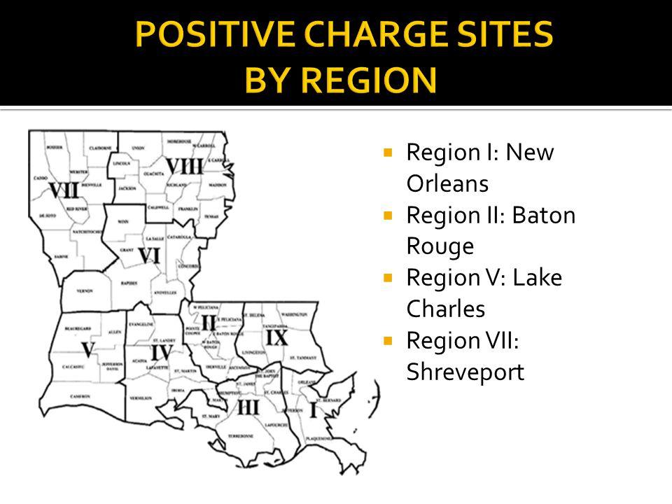  Region I: New Orleans  Region II: Baton Rouge  Region V: Lake Charles  Region VII: Shreveport