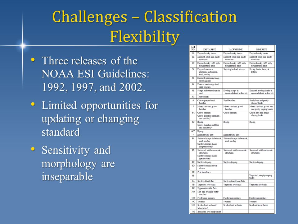 Challenges – Classification Flexibility Three releases of the NOAA ESI Guidelines: 1992, 1997, and 2002.