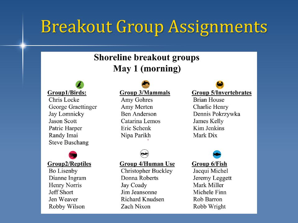 Breakout Group Assignments