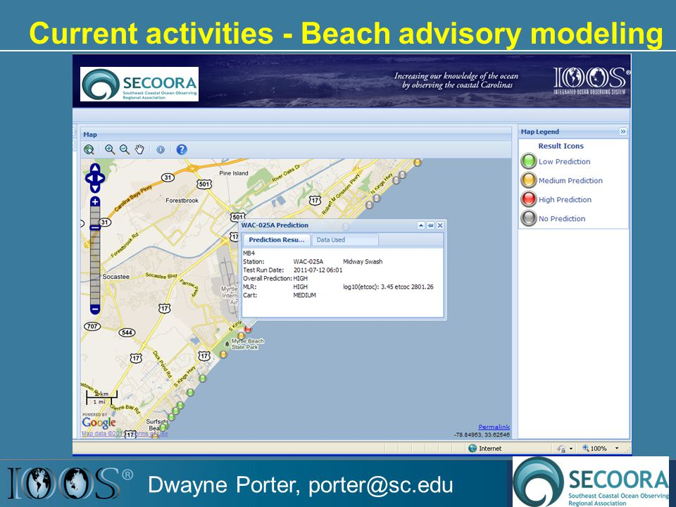 Current activities - Beach advisory modeling Dwayne Porter, porter@sc.edu