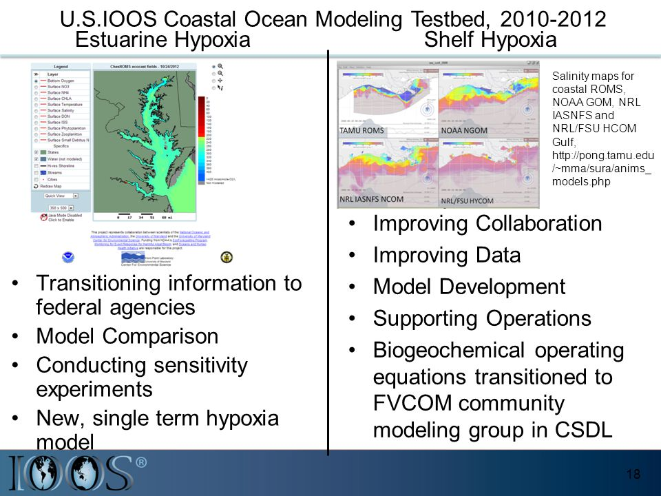 18 Gulf of Maine / Scituate Harbor - Extratropical Domain Salinity maps for coastal ROMS, NOAA GOM, NRL IASNFS and NRL/FSU HCOM Gulf, http://pong.tamu.edu /~mma/sura/anims_ models.php Improving Collaboration Improving Data Model Development Supporting Operations Biogeochemical operating equations transitioned to FVCOM community modeling group in CSDL Shelf Hypoxia Transitioning information to federal agencies Model Comparison Conducting sensitivity experiments New, single term hypoxia model Estuarine Hypoxia U.S.IOOS Coastal Ocean Modeling Testbed, 2010-2012