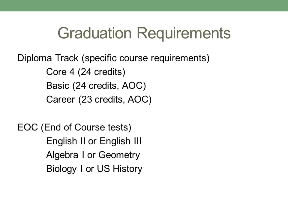 Graduation Requirements Diploma Track (specific course requirements) Core 4 (24 credits) Basic (24 credits, AOC) Career (23 credits, AOC) EOC (End of