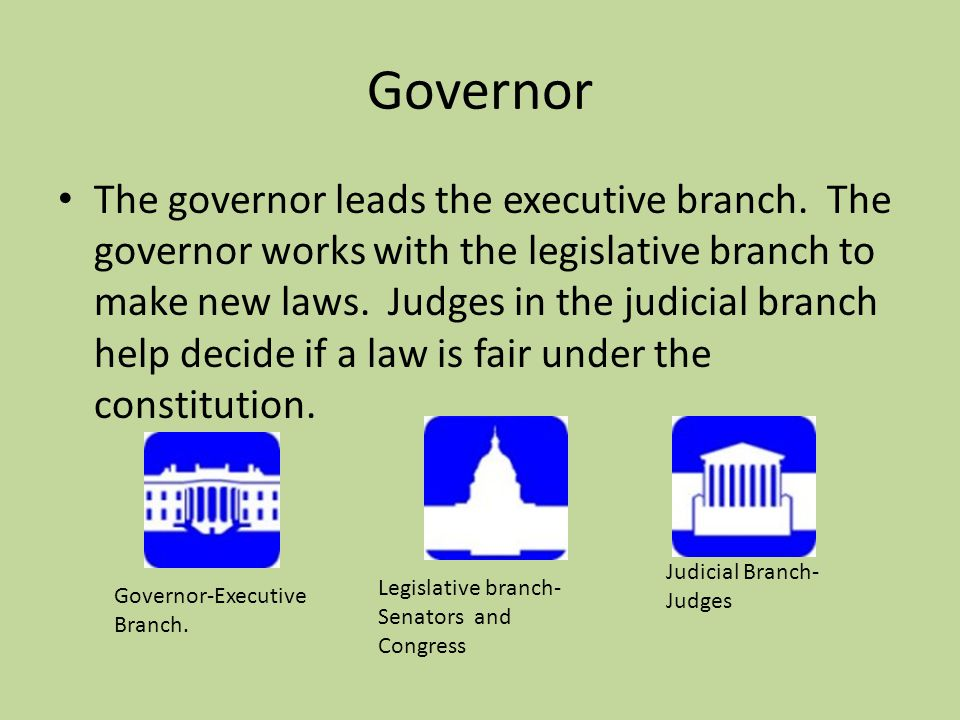 Governor and Constitution A governor is the head of a state government.