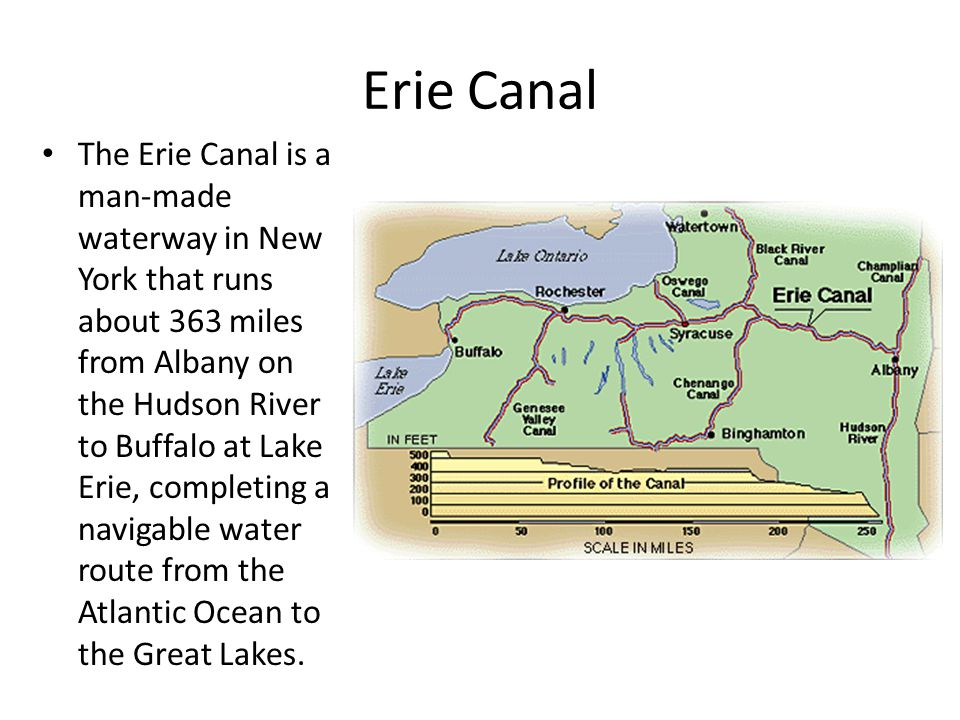 Erie Canal The Erie Canal is a man-made waterway in New York that runs about 363 miles from Albany on the Hudson River to Buffalo at Lake Erie, comple