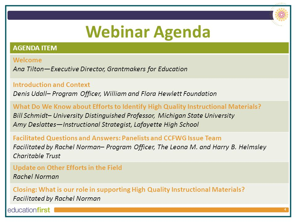 Webinar Agenda 4 AGENDA ITEM Welcome Ana Tilton—Executive Director, Grantmakers for Education Introduction and Context Denis Udall– Program Officer, William and Flora Hewlett Foundation What Do We Know about Efforts to Identify High Quality Instructional Materials.