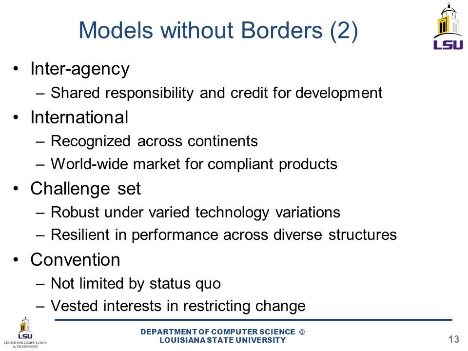 Models without Borders (2) Inter-agency –Shared responsibility and credit for development International –Recognized across continents –World-wide mark
