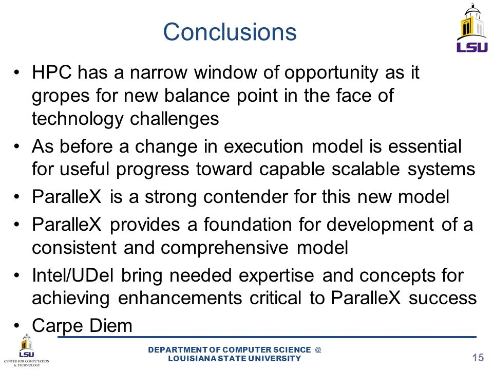 Conclusions HPC has a narrow window of opportunity as it gropes for new balance point in the face of technology challenges As before a change in execu