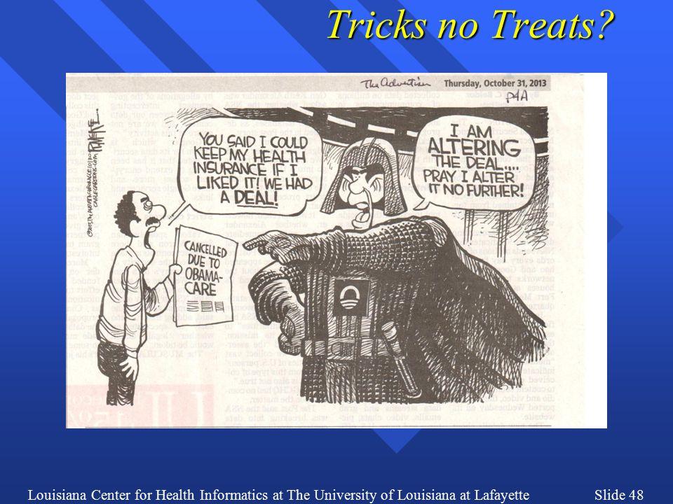 Louisiana Center for Health Informatics at The University of Louisiana at LafayetteSlide 48 Tricks no Treats