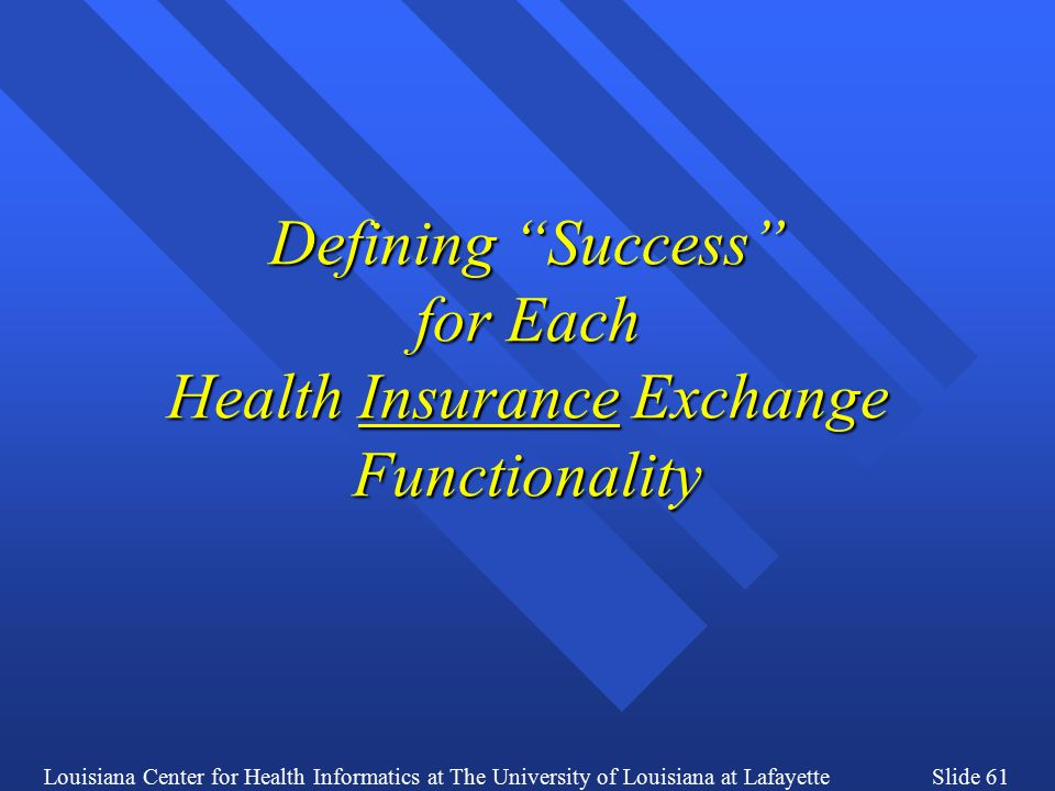 Louisiana Center for Health Informatics at The University of Louisiana at LafayetteSlide 61 Defining Success for Each Health Insurance Exchange Functionality