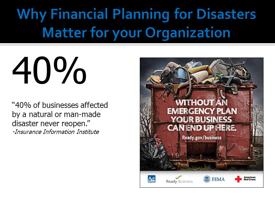 40% 40% of businesses affected by a natural or man-made disaster never reopen. -Insurance Information Institute