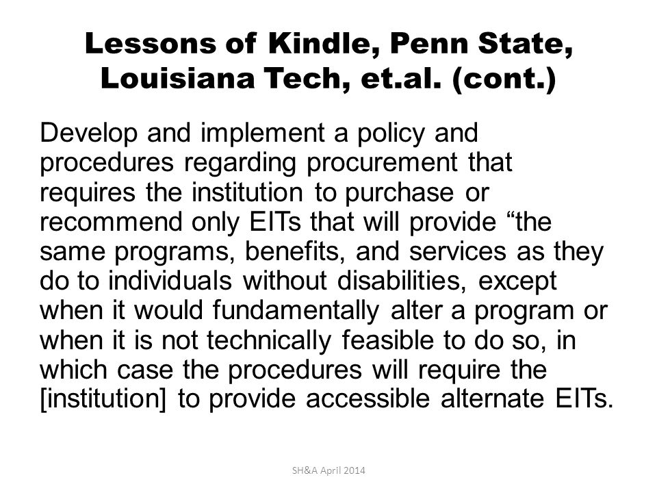 Lessons of Kindle, Penn State, Louisiana Tech, et.al.