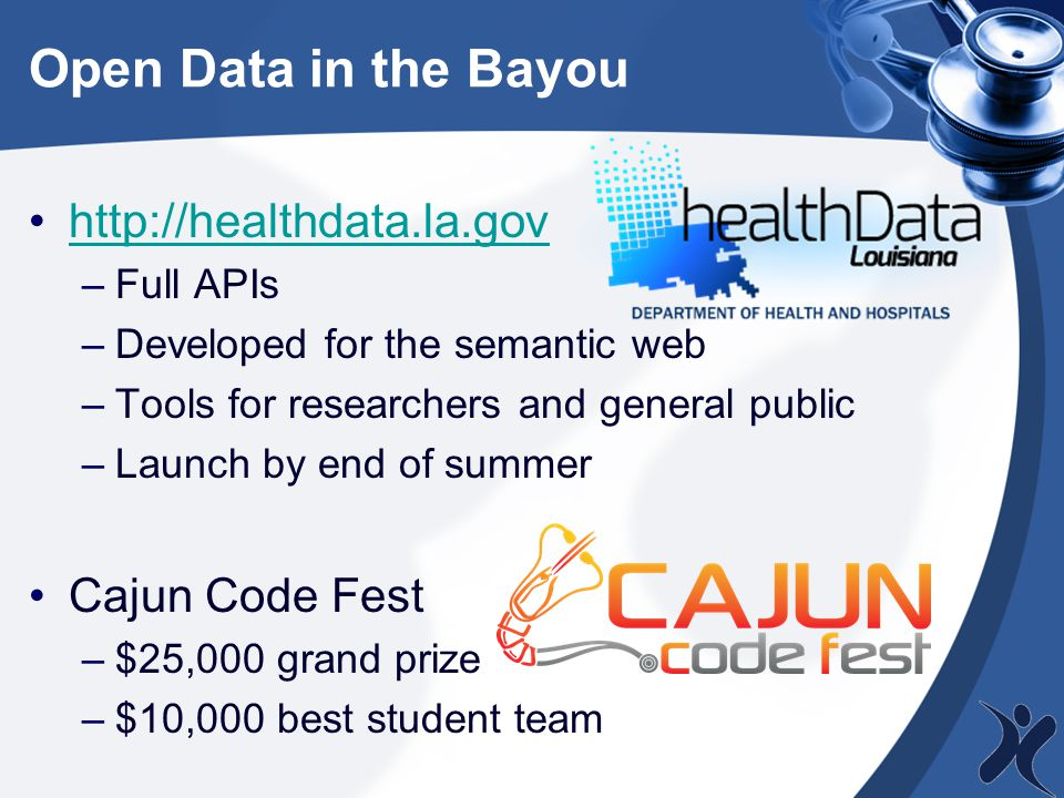 Open Data in the Bayou http://healthdata.la.gov –Full APIs –Developed for the semantic web –Tools for researchers and general public –Launch by end of summer Cajun Code Fest –$25,000 grand prize –$10,000 best student team