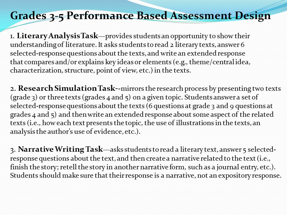 Grades 3-5 Performance Based Assessment Design 1.