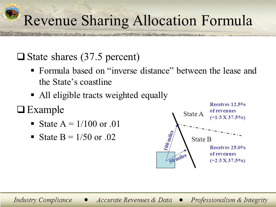 "Industry ComplianceAccurate Revenues & DataProfessionalism & Integrity  State shares (37.5 percent)  Formula based on ""inverse distance"" between the"