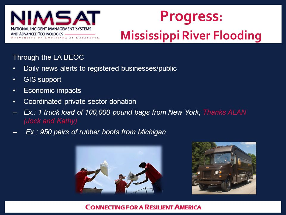 C ONNECTING FOR A R ESILIENT A MERICA Progress : Mississippi River Flooding Through the LA BEOC Daily news alerts to registered businesses/public GIS