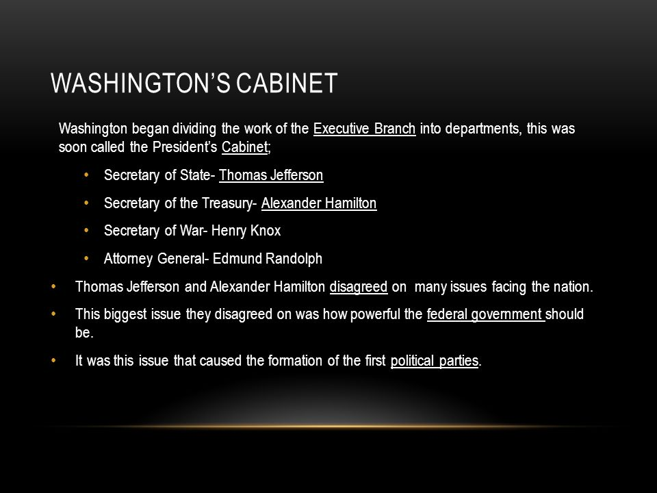 WASHINGTON'S CABINET Washington began dividing the work of the Executive Branch into departments, this was soon called the President's Cabinet; Secret